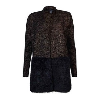 Alfani Women's Metallic Knit Faux Fur Cardigan - Black/Copper