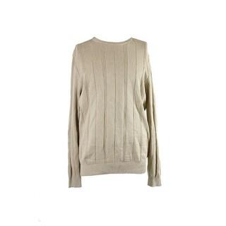 John Ashford Beige Crew-Neck Striped-Textured Sweater XXL