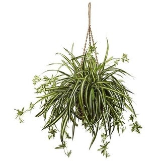 Nearly Natural 6846 Spider Plant Hanging Basket
