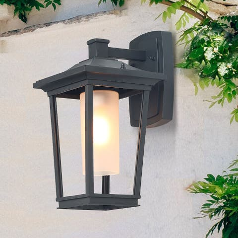 """Hawke's Bay 1-light Wall Sconce Black Patio Wall Lamp Mount Lighting for Outdoor - W6.5""""x H11""""x E8.7"""""""