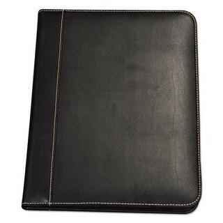 Samsill Contrast Stitch Leather Padfolio, Black