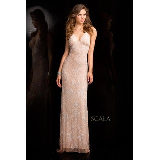 VNECK BEADED GOWN LOW XBACK