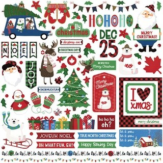 "O Canada Christmas Stickers 12""X12""-Elements"