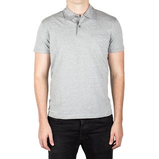 Prada Men's Jersey Sport Pima Cotton Slim Fit Pocket Polo Shirt Light Gray - M