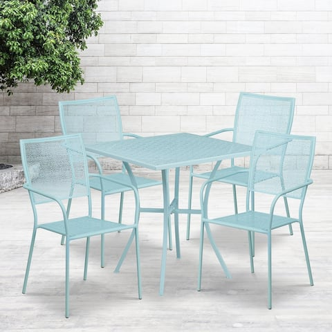 "28"" Square Sky Blue Indoor-Outdoor Steel Patio Table Set - 4 Square Back Chairs"