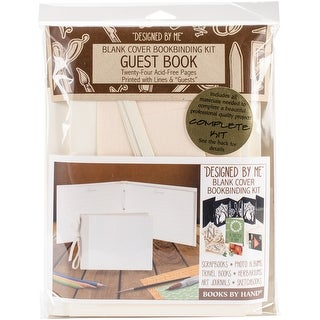 "Books By Hand Designed By Me Blank Cover Bookbinding Kit-Guest Book, Ivory 7""X10.5"""