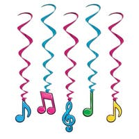 """Club Pack of 30 Neon Colors Musical Notes Hanging Whirl Decorations 36"""" - Blue"""