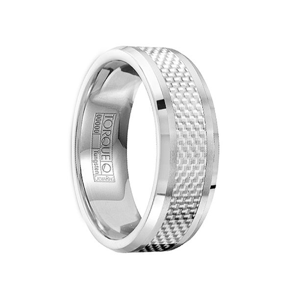 MANLIUS White Carbon Fiber Inlay Tungsten Ring with Polished & Brushed Finish by Crown Ring - 8mm