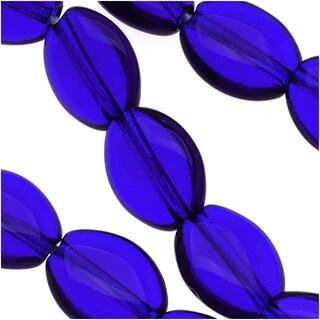 Czech Glass 8 x 6mm Flat Smooth Oval Cobalt Blue (25)