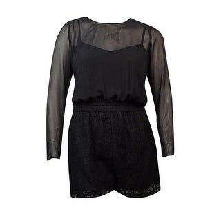 BCBGeneration Women's Long Sleeves Chiffon Lace Romper - Black - l