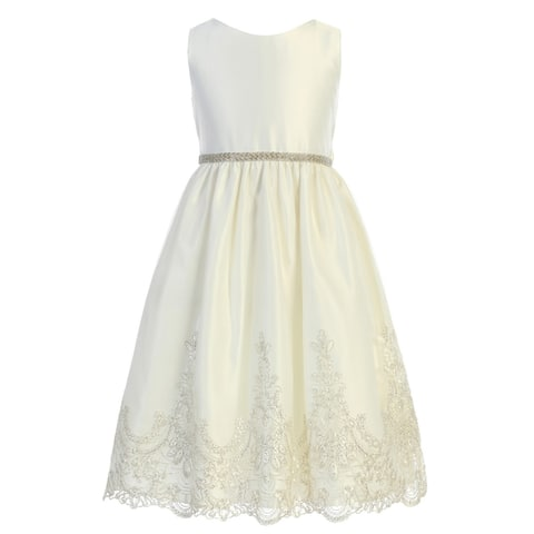 Sweet Kids Girls Ivory Metallic Scalloped Lace Flower Girl Dress