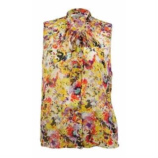 Tahari Women's Floral Tie Front Blouse
