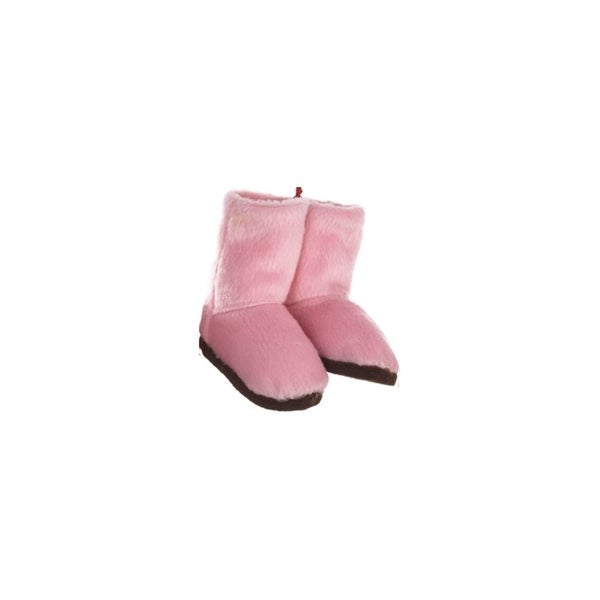 "3"" Fashion Avenue Pink Plush Winter Boots with Brown Soles Christmas Ornament"