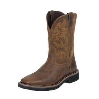 Justin Work Boots Mens Stampede Tail Square Toe Western Tan WK4822