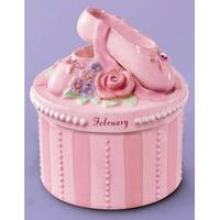 A Time to Dance Classics February Ballerina Trinket Box by Russ Berrie - Pink