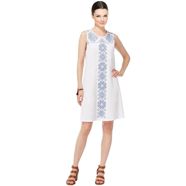 faea87d997870 Style & Co Embroidered Shift Dress Inspired White