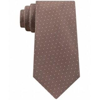Calvin Klein NEW Brown Taupe Pebble Pindot Mens Neck Tie Silk Accessory