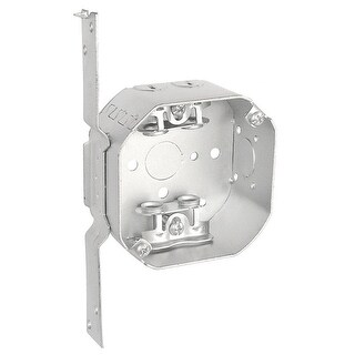 5 Pcs, 4 in. Octagon Box, 1-1/2 in. Deep, Flat Vertical Bracket, BX Clamps, .0625 Galvanized Steel