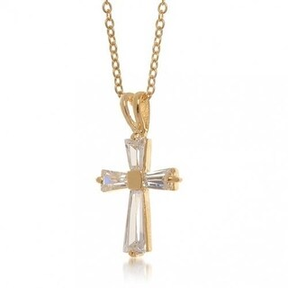 Tapered Baquette CZ Cross Pendant Gold Plated Necklace 16 Inches