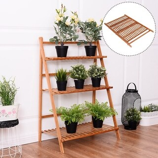 Costway 3 Tier Outdoor Bamboo Flower Pot Shelf Stand Folding Display Rack Garden Yard - Brown