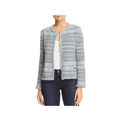 Nic + Zoe Womens Open-Front Blazer Tweed Fringe