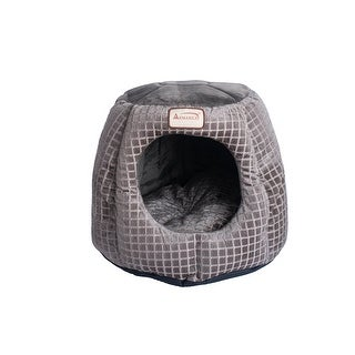 """Link to Armarkat 18"""" Poly Fill Luxe Velvet Upholstery Cat Bed - Bronze and Silver Similar Items in Cat Beds & Blankets"""