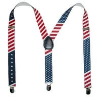 CTM® Elastic Stars and Stripes American Flag Clip-End Suspenders - one size