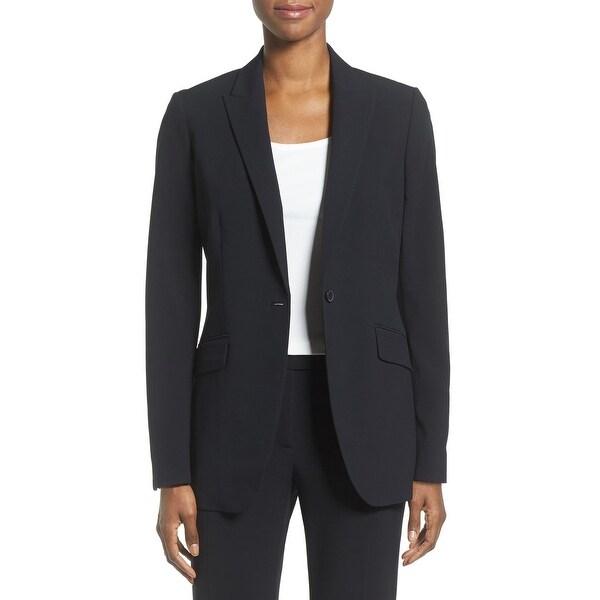 Anne Klein Women's Jacket Deep Black Size 4 Single Button Seamed. Opens flyout.