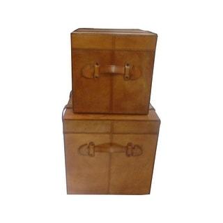 Leather Storage Trunk Box Set of 2 pcs