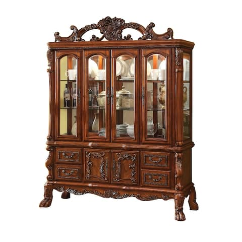 4 Door Traditional Hutch and Buffet Set with 4 Drawers and 2 Cabinets,Brown