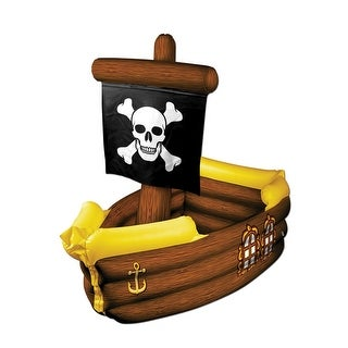 """39"""" Giant Inflatable Brown and Yellow Pirate Ship with Crossbone Flag Decorative Party Drink Cooler"""