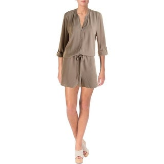 The Fisher Project Womens Partially Lined Drawstring Romper