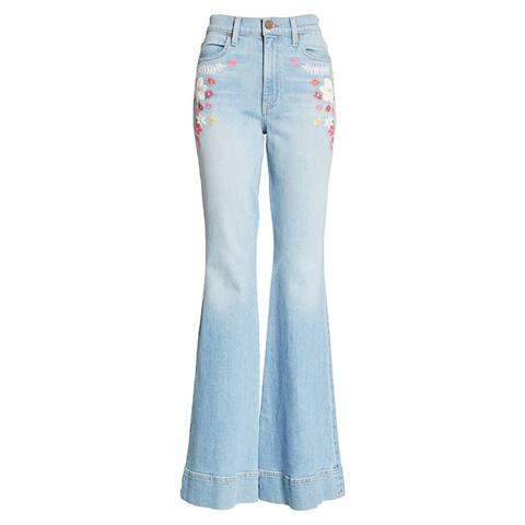 Alice + Olivia Beautiful High Waist Bell Bottom Light Wash Jeans Blue