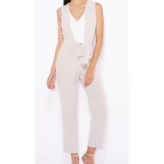 Miss Selfridge NEW Beige White Women Size 2 Belted Colorblocked Jumpsuit
