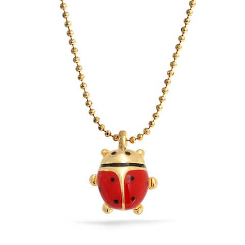 Red Lucky Ladybug Small Enamel Pendant Gold Tone Plated Necklace For Women 16 Inches