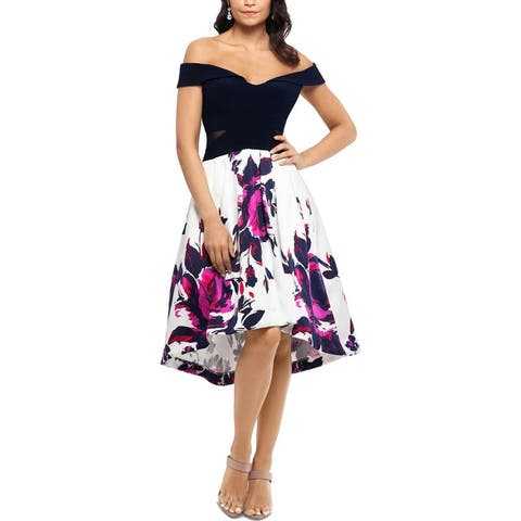 Xscape Womens Formal Dress Off-The-Shoulder Hi-Low - Navy Multi