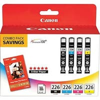 Canon CLI-226 4 Color Ink & Paper Combo Pack INK TANK KIT CLI-226 COLOR with 50EA