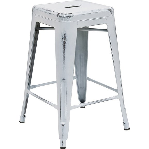 Shop Brimmes 24 High Metal Counter Stool Backless Distressed White