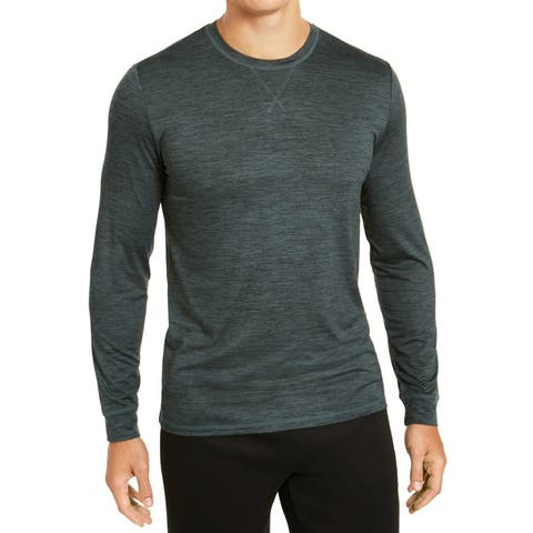32 DEGREES Mens Activewear Long Sleeve Green Large L Spacedye Crewneck
