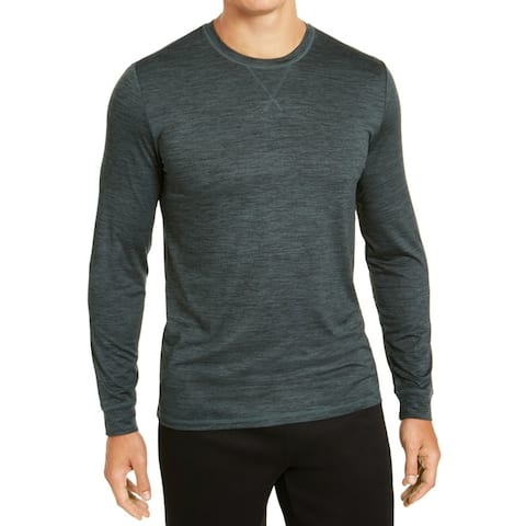 32 DEGREES Mens Activewear Tops Green Medium M Quick-Dry Long Sleeve
