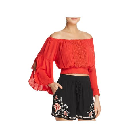 Band of Gypsies Womens Blouse Lace Inset Smocked