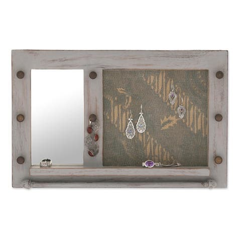 Handcrafted Suar Wood 'Bali Heritage in Grey' Wall Mirror Jewelry Rack (Indonesia)