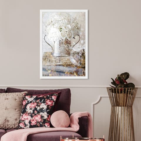 Oliver Gal 'Romantic Roses' Floral and Botanical Framed Wall Art Prints Florals - White, Gold