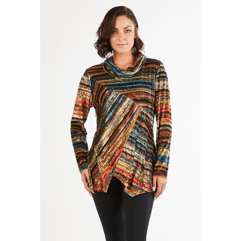 Women's Velvet Striped Multicolor Cowl Neck Tunic Top