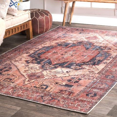 nuLOOM Transitional Faded Duval Medieval Medallion Area Rug
