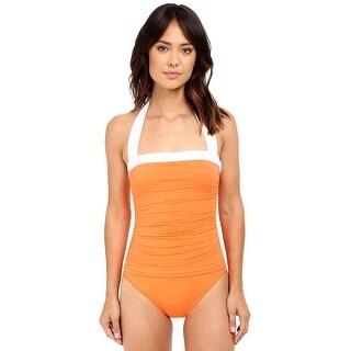 Ralph Lauren Bel Aire Shirred Womens One-Piece Swimsuit Orange Size 16