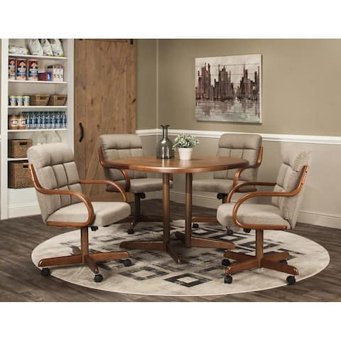 Caster Chair Company 5 Pc Dining Set - 42x42 Table / Toast Tweed Chair