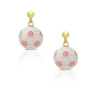 Lily Nily Girl's Soccer Ball Dangle Earrings - Pink