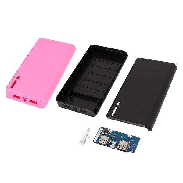Unique Bargains 2 Pcs Pink Black Lithci Print Dual USB Power Bank 6x18650 Battery Charger Box