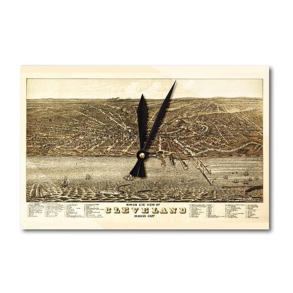 Cleveland, OH - (1877) - Panoramic Map (Acrylic Wall Clock) - acrylic wall clock